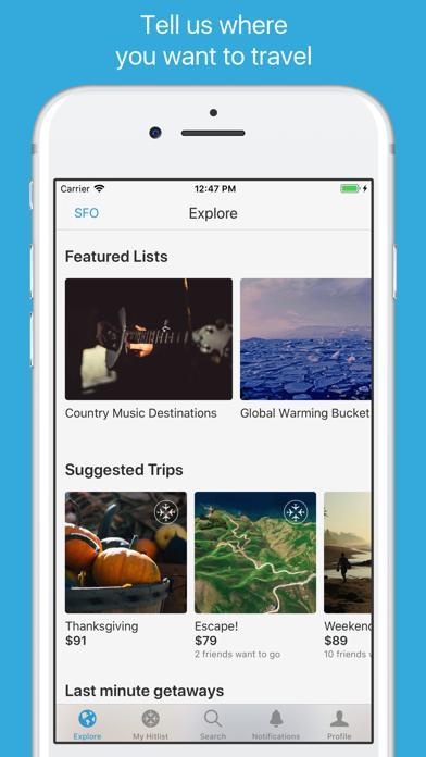 Hitlist - Cheap Flights Travel Deals and Airline Tickets screenshot 1