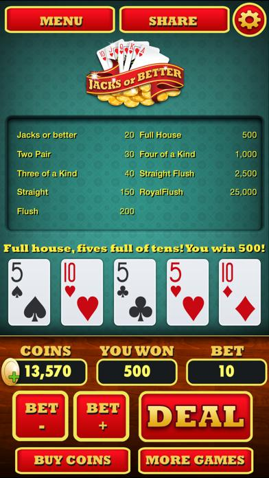 Video Poker ( Jacks or Better ) iPhone Screenshot