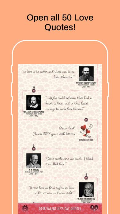 2048 Valentine's Day Quotes iPhone Screenshot
