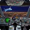 Aircraft driving simulator 3D icon