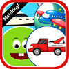 Vehicle Cartoons Matching Cards Puzzle Game App